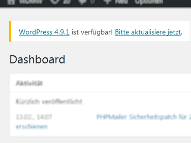 Update von WordPress